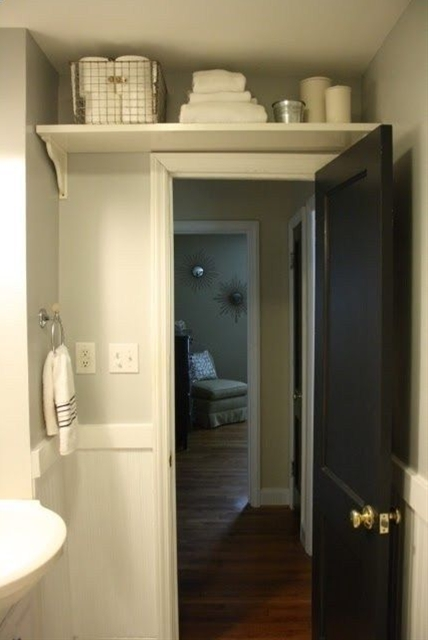 Over the door storage for a small bathroom . This could work in any bathroom