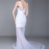 Sheath/Column Bateau Neckline Court Train Tulle dress with Lace