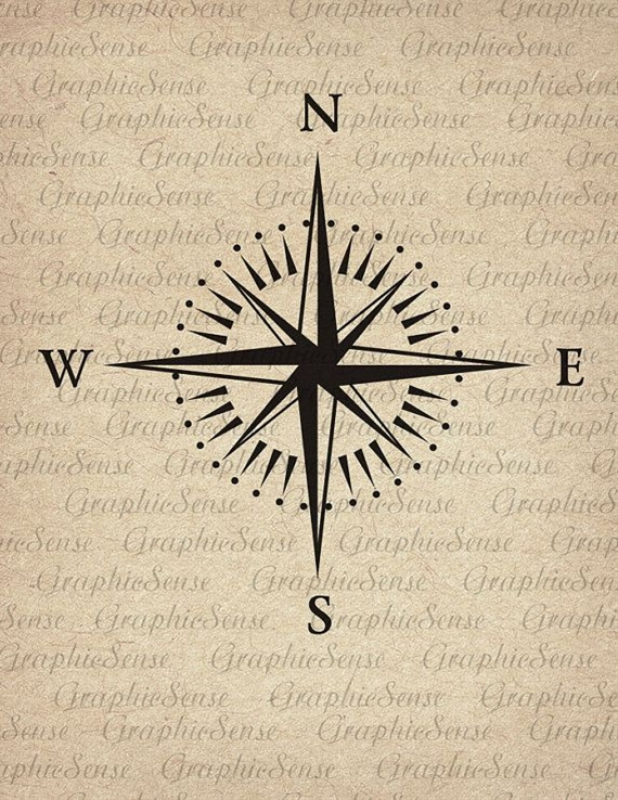 Mariner's Compass - Printable Graphics Digital Collage Sheet Image Download Iron on Transfer Fabric Paper Glass Orn34
