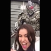 Woman taking a selfie at Universal Studios receives harsh words of wisdom from Megatron actor.