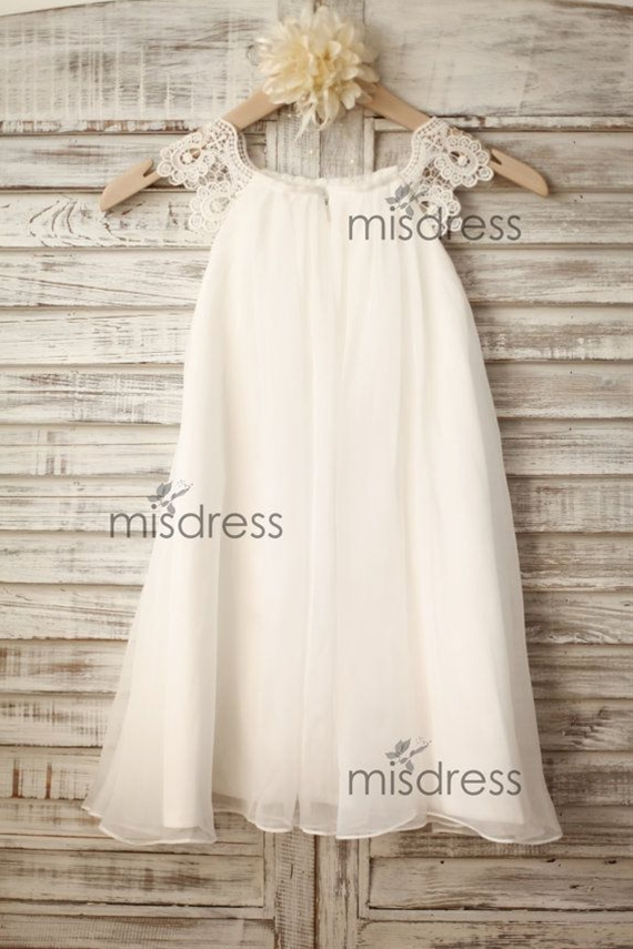 Chiffon Lace Flower girl dress/Cap Sleeves Boho Beach by misdress