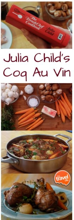 A little inspiration for my summer trip to France, making Julia Child's Coq Au Vin.  My mom picked up a vintage cookbook for me at a garage sale and it actually goes through each of Julia Child's TV episodes.  I treasure it. This recipe is a little modified (to save some time) from the one I found in the cookbook.