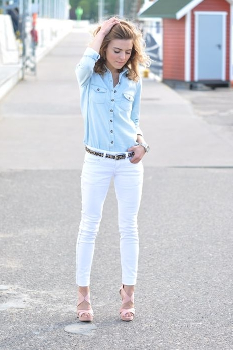 Love this look. Wish I could find a pair of white skinny jeans that actually fit me right.