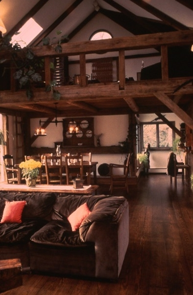 love this! This is the way I want my living area and dining area set up along with the loft upstairs.