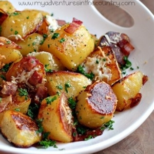 oven roast potatoes with bacon.