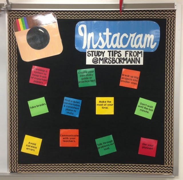 The Instacram and iCal boards are inside my classroom, and the Notes board is right outside my classroom and is a place to put schedules, tutorials, etc. For each of the boards, I backed them in black butcher paper and then with black burlap.