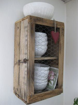 DIY| crate made into cabinet- plus chicken wire