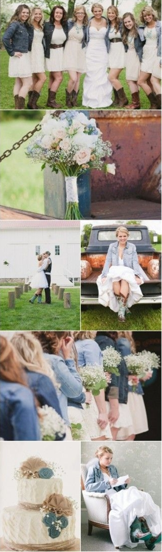 Love all these ideas! The denim and boots are adorable!..I'd make the brides maids dresses longer though.