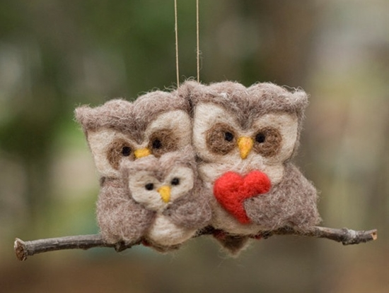 felted owl family