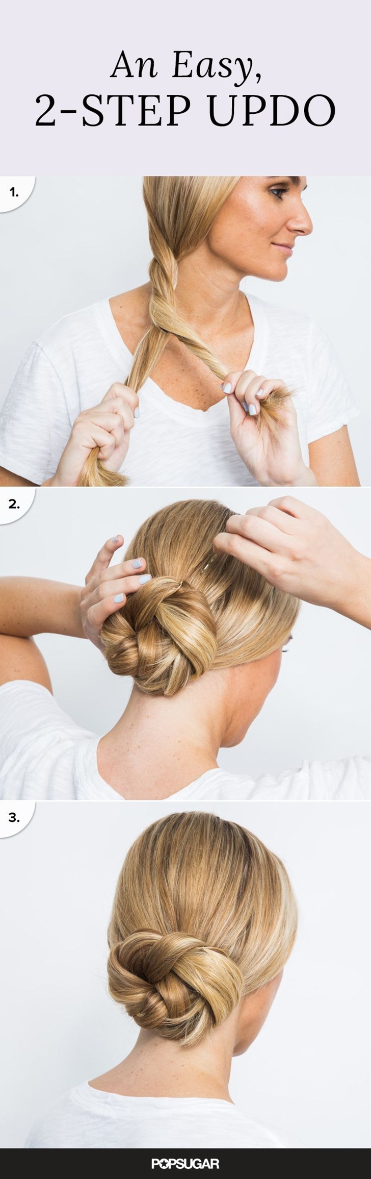 Updos don't have to be complicated! David showed us a two-step hairstyle you can literally pull off in two minutes. Start by splitting your hair into two equal sections, and then wind your strands into a thick twist.