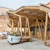 Constellations Bar by H Miller Bros is a courtyard canopy made up of triangles and zigzags