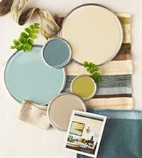 "Interior color schemes by BHG - ""Spring Renewal."" [Colors (all Sherwin Williams) from the top: Ivoire SW6127; Underseas SW6214; Hazel SW6471; Antiquity SW6402; Macadamia SW6142."