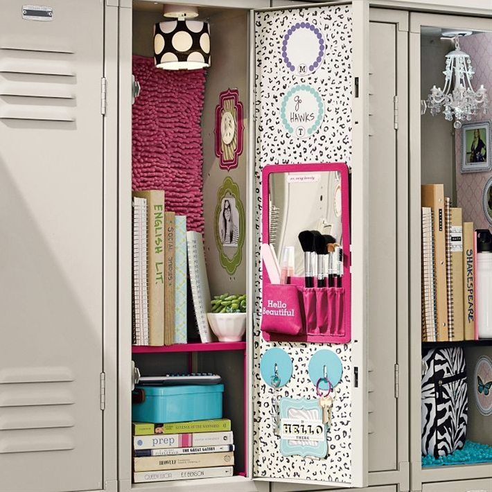 Style out your locker with our color-coordinated accessories. Add a handy mirror that includes a pocket below for stowing supplies, plus pockets for holding your beauty brushes.