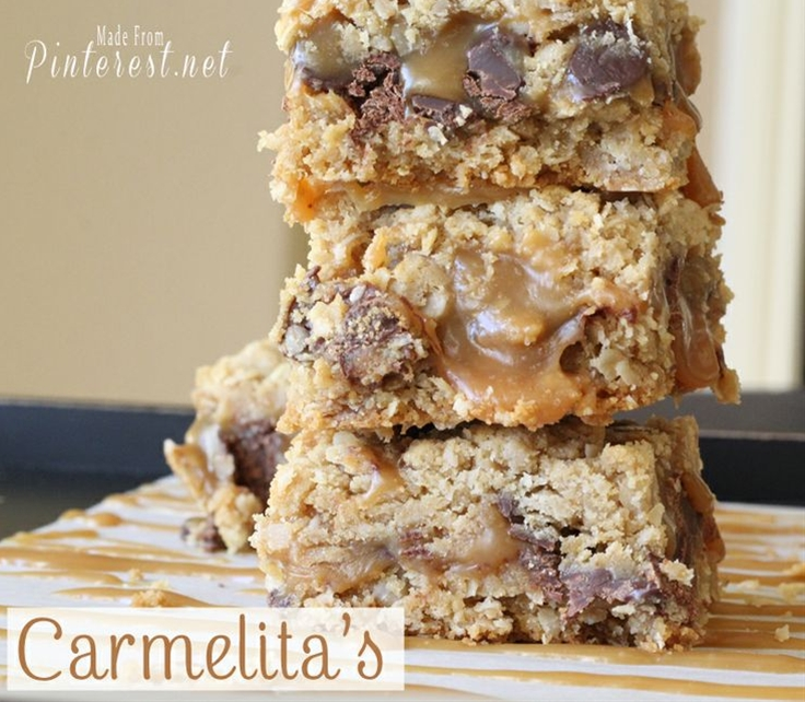 Ingredients: 32 caramel squares, unwrapped,  ½ cup heavy cream,  ¾ cup butter, melted,  ¾ cup brown sugar, packed,  1 cup flour,  1 cup rolled oats,  1 teaspoon baking soda,  6 ounces semisweet chocolate chips.