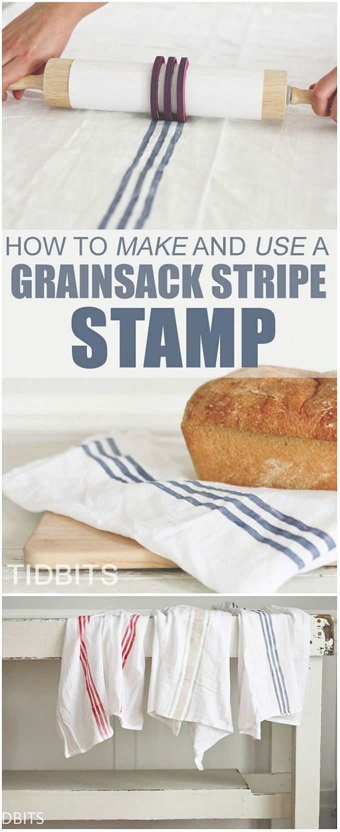 This tutorial makes the process of making authentic-looking grainsacks so easy!\n\n MATERIALS:\n\n  Rolling Pin\n You can buy a new one and designate it as your grainsack rolling pin, or use the one in your kitchen.  I will show you how you can make the stamp so it doesn't ruin your rolling pin at all, and you can use it for your pastry's when you are done stamping.\n 1 Piece of cardstock paper\n Tape\n Hot Glue Gun\n 1 Rubber Stamp Making Sheet