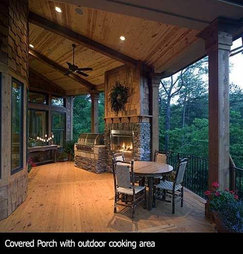 Love the deck and fireplace with a big grill next to it, but I'd have cozier seating strategically placed around