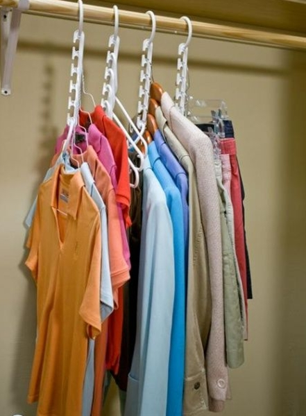 If you're a girl who has a lot of items to hang in your closet, try Wonder Hangers. Because one Wonder Hanger can hold up to five items of clothing, they save space in your cramped closet.
