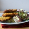 cornmeal-fried pork chops + smashed potatoes