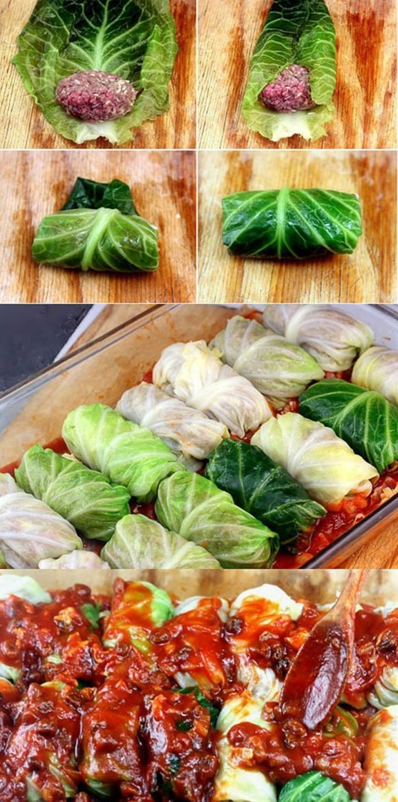 Tender leaves of cabbage stuffed and rolled with beef, garlic, onion and rice, simmered in a rich tomato sauce.\n\n ingredients:\n Cabbage Rolls\n 1 large head green cabbage, about 2 to 2¼ pounds\n 2 pounds ground beef\n 2 eggs (not necessary, you can leave them out, but they bind and make the meat fluffier)\n 1 medium onion, grated or minced\n 2 garlic cloves, minced\n 2 teaspoons salt\n 1 teaspoon black pepper\n ½ cup uncooked white rice\n Tomato Sauce\n 2 tablespoons butter or vegetable oil\n 1 clove garlic, finely chopped\n 1 medium onion, chopped (medium dice)\n 2 15-ounce cans tomato sauce or one 32-ounce can whole tomatoes, pulsed in a food processor with juice until pureed.\n juice of one lemon or 2 tablespoons (or more to taste) apple cider vinegar