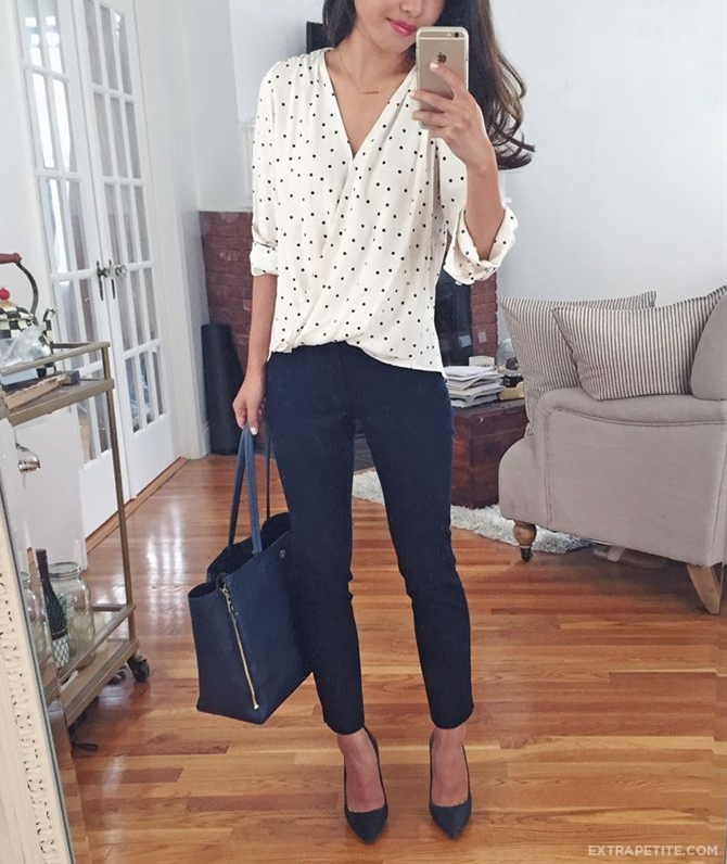 wrap polka dot blouse + navy ankle pants for work. More easy outfits on the blog!