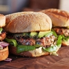 Easy Salmon Burgers with Dill Honey-Mustard, Horseradish, and Avocado
