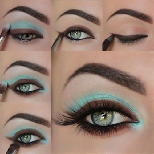 Stunning blue and brown-although I might not use the brown so thickly and maybe not on the bottom lash line.