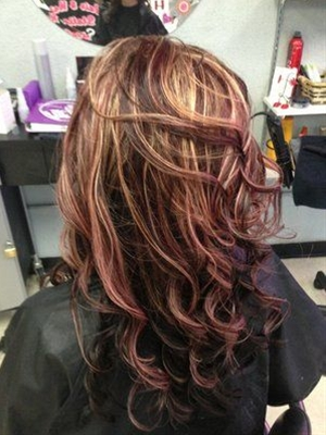 mahogany red blonde highlights