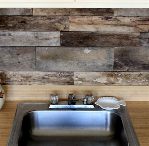 wood pallet backsplash.