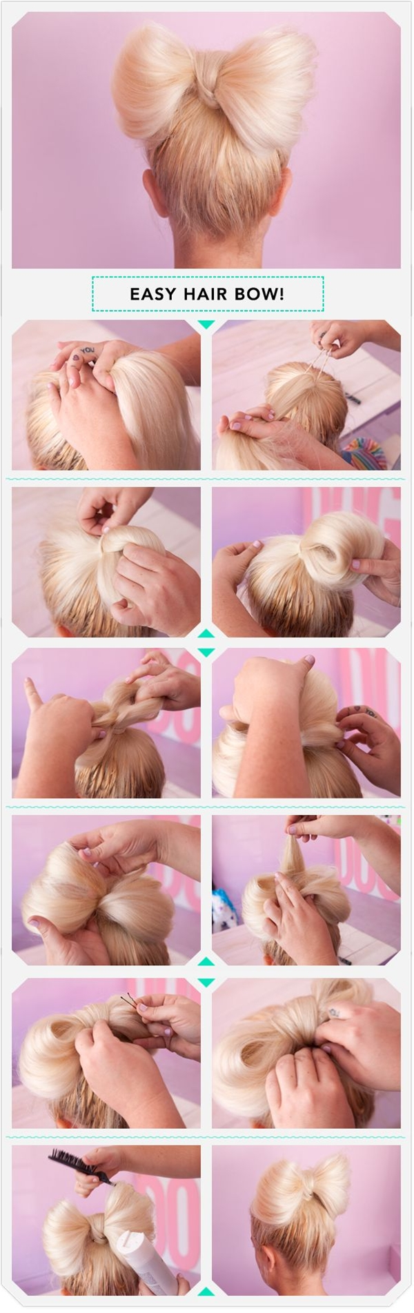 Girlie, youthful, and fun, the ultra-feminine bow can also be a creative way to add a dash of dainty to your hair look. Make the classic accessory fit your ladylike style with new DIY effects that work for the everyday.