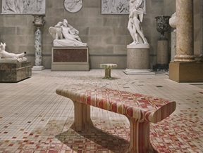 Raw Edges installs dye-soaked wooden floor across 19th-century sculpture gallery