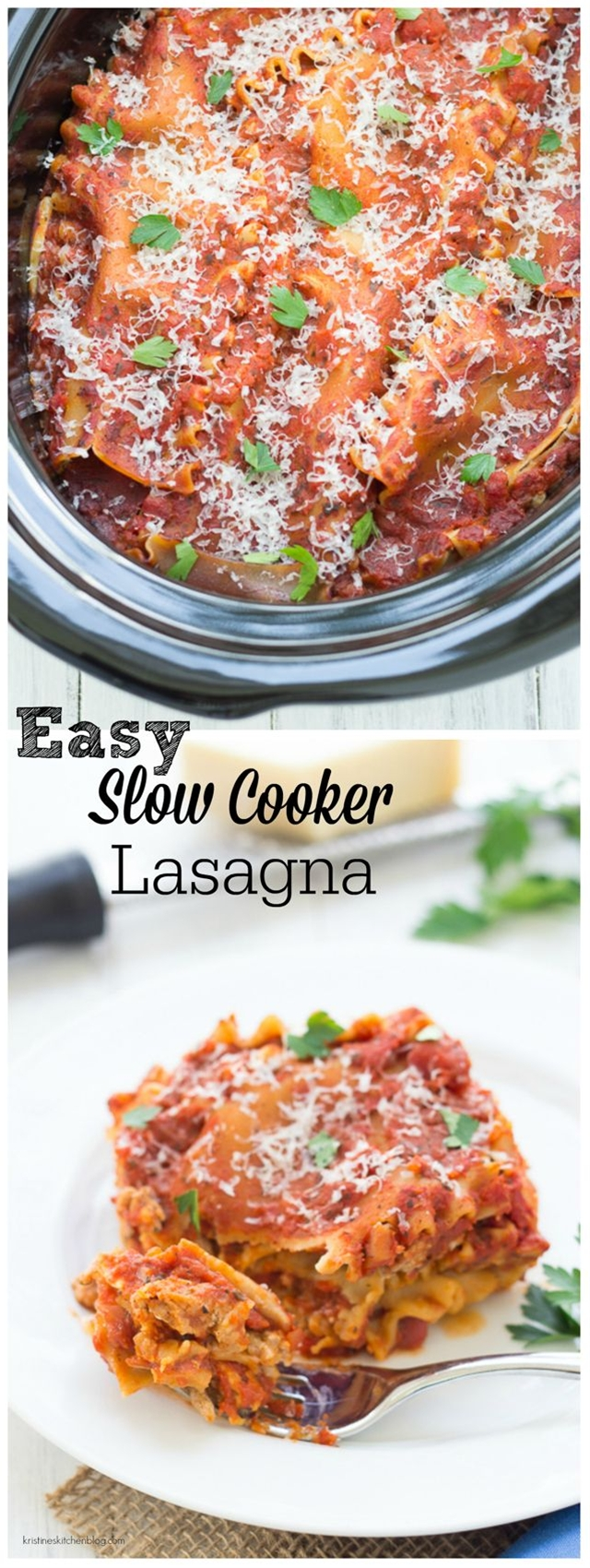 Only 20 minutes prep and then the crock pot does the rest!\n\n Ingredients\n 1 tbsp. olive oil\n 1 medium onion, chopped\n 4 cloves garlic, minced\n 1.25 lbs. ground beef or ground turkey\n 2 (26 oz. each) jars your favorite marinara sauce 10 lasagna noodles (uncooked)\n 2 cups grated mozzarella cheese\n Grated Parmesan cheese, for serving\n Fresh chopped parsley or basil, for serving, if desired